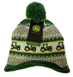 John Deere Toddler Boys Knit Hat With Tractors and Pom