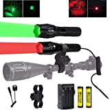 350 Yard Red and Green LED Coyote Hog Hunting Flashlight Light with Pressure Switch & Scope Mount, Zoomable Green and Red Light Predator Varmints Hog Night Hunt Tactical LED Flashlights