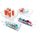 mDesign Plastic Kitchen Pantry Cabinet, Refrigerator or Freezer Food Storage Bins with Handles - Organizers for Fruit, Yogurt, Drinks, Snacks, Pasta, Condiments - Set of 4 - Clear