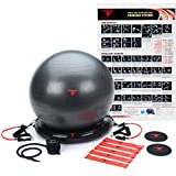 ThinkFit Premium Home Gym Bundle - 65cm Yoga Exercise Ball Pack & Resistance Band Set W/Handles   Includes Core Sliders, Foot Pump & Workout Poster   Perfect for Home Workouts