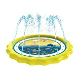 HITOP Sprinkler for Kids, Splash Pad & Baby Pool 3-in-1 60' Outdoor Toys for 1 2 3 4 5 Year Old Boys Girls - 'Know The Ocean' Learning Water Play Mat Toys for Kids, Babies and Toddlers