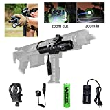 Zoomable AR 15 Flashlight 500 LM 200 Yard Single 1 Mode Picatinny Rail Mounted Flashlights with 45° Offset Mount Dual Function Pressure Switch for AR Rifle Shotgun