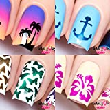 Whats Up Nails - Nail Vinyl Stencils Variety Pack 4pcs (Anchor, Palm, Hibiscus, Butterflies) for Nail Art Design