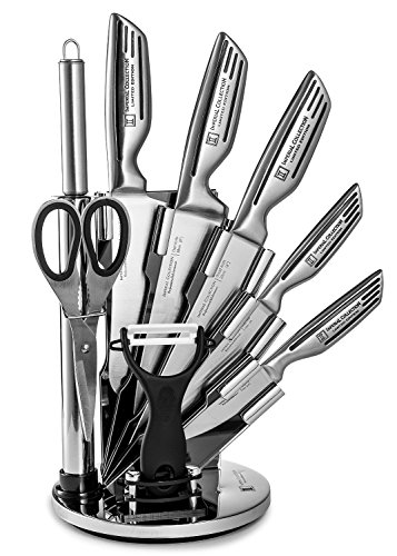 Imperial Collection 9-Piece Stainless Steel Kitchen Cutlery Knife Set with Rotating Block Stand, Silver Signature
