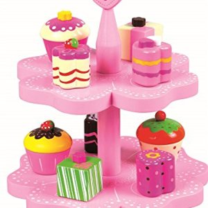 LELIN 0004529 Wooden Childrens Magnetic Cake Muffin Tea Party Food Stand Toy, Pink 51cBoNLYL8L