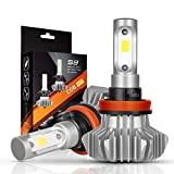 AutoFeel H11 LED Headlight Bulbs 7000LM IP68 Super Bright Car Exterior White Light Built-in Driver Lamp All-in-One Conversion Bulb Kit with Cool White Lights - 1 Year Warranty