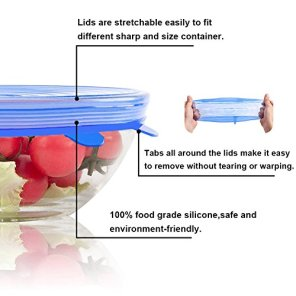 Silicone-Stretch-Lids-for-BowlsPotsDishes-Food-CoversReusable-Food-Wrap-Covers-for-Various-Sizes-Kinds-of-Container-and-Food-Saver