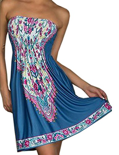 Sexyshine Womens Summer Strapless Floral Print Bohemian Vintage Tube Wrapped Chest Casual Mini Dress Beachwear Cover up
