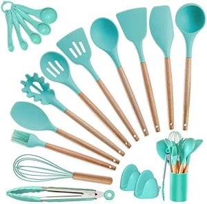 Kitchen Utensils Set Silicone Cooking Utensils – SZBOB Heat Resistant Kitchen Tools Wooden Handle Spoons Kitchen Utensil Set with Holder Spatulas Turner Tongs Whisk Kitchen Appliances for Cooking