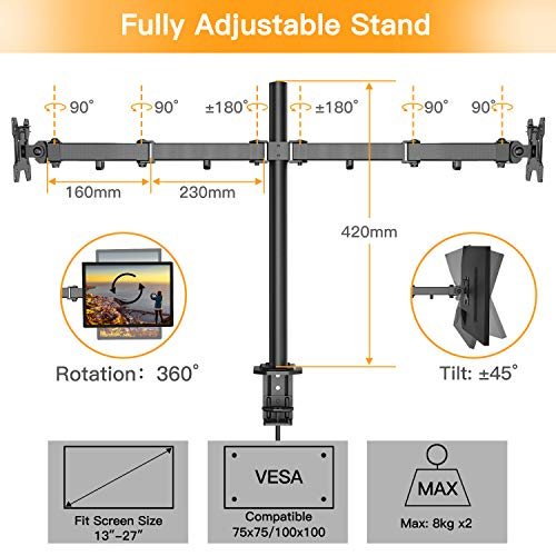 51cIjV6z hL - HUANUO Dual Monitor Mount, Fully Adjustable for Two 13 to 27 inch LCD LED Screens, 2 Mounting Options, VESA 75/100