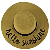 "Hello Sunshine Wide Brim 4"" Summer Derby Beach Pool Floppy Dress Sun Hat"