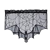 Kasla Halloween Black Lace Spiderweb Bat Fireplace Mantle Valance,Spooky Cobweb Cover Runner Scarf Shelf Festival Party Decorations Supplies Accessories