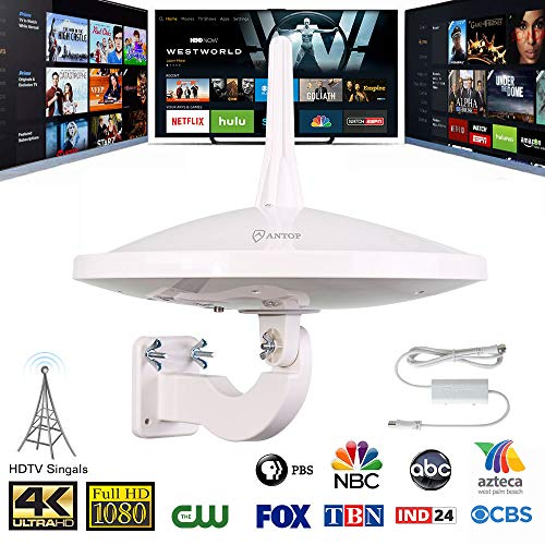 ANTOP 720° Dual-Omni Reception UFO Outdoor HDTV Antenna 65 Mile Range with Smartpass Amplified & Built-in 4G LTE Filter Fit Home/RV/Attic Use for Enhanced VHF/UHF(33ft Coaxial Cable) Weather Resistant