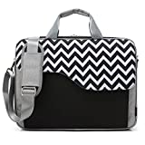 CoolBELL 15.6 Inch Nylon Laptop Bag Shoulder Bag With Strap Multicompartment Messenger Hand Bag Tablet Briefcase For iPad Pro / laptop / Macbook / Ultrabook / Men / Women / College (Black Wave)