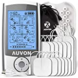 AUVON Rechargeable TENS Unit Muscle Stimulator, 3rd Gen16 Modes TENS Machine with Upgraded Self-Adhesive Reusable TENS Electrodes Pads (2'x2' 12pcs, 2'x4' 2pcs)