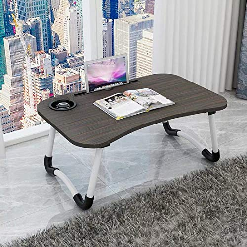 51cLDK3yUwL - Barbieya Notebook Table Dorm Desk, Dormitory with Small Desk, Bed with Laptop Table, Folding Table, Breakfast Tray Reading Stand Desk with Cup Slot (60 × 40cm)