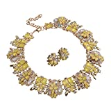 Holylove 7 Colors Crystal Vintage Statement Necklace Earrings (Yellow-8041BE Yellow Set)