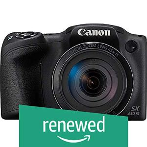 (Renewed) Canon SX430B PowerShot 20MP Digital SLR Camera (Black) with 45x Optical Zoom, 16GB Memory Card and Camera Case
