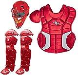 All-Star Sports Baseball/Softball Catcher's Kit (Junior Ages 9-12 Helmet, Chest & Leg Protectors, Equipment Bag) (Scarlet Red)