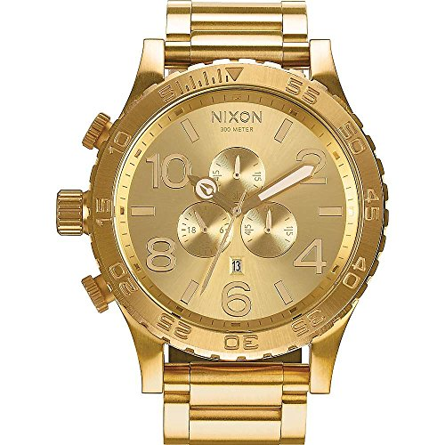 "51cPLDMT56L NIXON 51-30 CHRONO, ALL GOLD. Well equipped 3-link stainless steel band with double locking clasp. This All Gold Nixon watch also has the crown positioned at 9 & pushers at 8 & 10 to prevent ""wrist bite."" INSPIRED. Handsome, easy-to-read 51mm design that launched the oversized trend, with 3 CD textured subdials. 6-hand chrono, date window, 24-hour and seconds subdials for superior capability. SUPERIOR FUNCTIONALITY. Good looks, brains, and brawn combined The 51-30 Chrono rates second-to-none. Concave dial ring with rotating bezel with countdown timer, bold numbers and printed seconds track."
