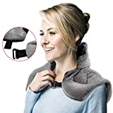 Microwave Heating Pad, Hot/Cold Shoulder Wrap Aromatherapy Soft Flannel & Button Design, Natural Herbal Filler, Dry/Moist Relieve Aches and Tension in The Neck, Back and Arthritis