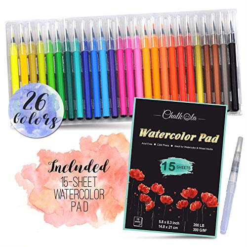 Watercolor Brush Pens | Set of 26 with 15-Sheet Paper Painting Pad with Water Brush | Water Color Paint Markers with Real Flexible Soft Nibs | 100% Non-Toxic | Paint Pens for Kids and Adults