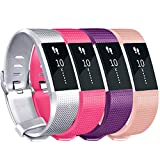 Tobfit Sport Bands Compatible for Fitbit Charge 2 Classic Edition, 4 Pack, Silver, Pink, Rose, Purple, Large