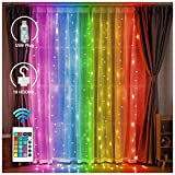 LED Color Changeable Backdrop Curtain Lights with Remote – USB Plug-in Fairy String Light Hanging Window Icicle Lighting for Home Dorm Room Christmas Holiday Decoration (Curtain Light - RGB)