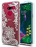 LG G8 ThinQ Case,LG G8 Case with HD Screen Protector [2 Pack] Huness TPU Grip Bumper and Clear Flower Transparent Hard PC Backplate Hybrid Slim Phone Case Cover for LG G8 ThinQ Phone (Flower)