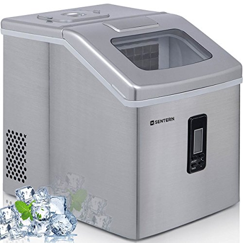 Sentern Portable Electric Clear Ice Maker Machine Stainless Steel Countertop Ice Making Machine 2.4 lbs Ice Storage 48 lbs Per Day, Real Clear Ice Cubes, Actual Ice, Crystal clear ice, NOT Bullet Cube