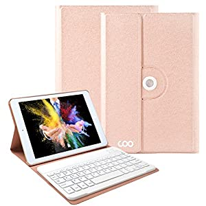 iPad Keyboard Case for New 2017 iPad, iPad Pro 9.7, iPad Air 1 and 2,COO 360 Degree Rotation and Multi-Angle Stand Slim Leather Folio Case Cover with Removable Bluetooth Keyboard (Champagne)