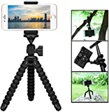 Mini Cell Phone Flexible Tripod Holder, ZTON Adjustable Mobile Phone Mount, Universal Octopus Stand for iPhone, Samsung, Camera (S-Black)