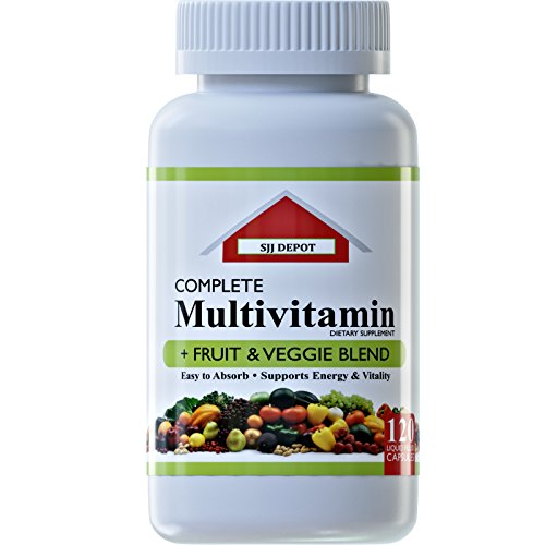 120 Multivitamin Fruit and Vegetable Liquid Capsules, Loaded Multivitamins, Supplements by SJJ Depot, Multiple Vitamin has Joint Heart Brain Antioxidants, Daily Women Men Senior Adult Multi Vitamins