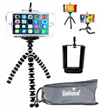 DaVoice Flexible Tripod Compatible with iPhone 7 6s 6 5s 5c 5 4s 4 SE 8 X XS XR Galaxy S9 S8 S7 S6 S5 - Bendy Tripod - Cellphone Tripod Adapter - Travel Bag - Mini Lightweight Bendable (White/Black)