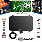 GreenYellow - Indoor Digital HDTV Amplified Television Antenna Freeview 4K 1080P HD VHF UHF for Local Channels 120 Miles Range with Signal Amplifier Support All TV's-13ft Coax Cable