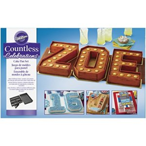 Wilton Countless Celebrations Numbers & Letters Cake Tin Set, Non Stick, 36.8 x 22.8cm (14.5 x 9in) 51cXtLMFvGL