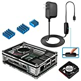Miuzei Raspberry Pi 3B+ Case with Fan Cooling and 3× Heat-Sinks, 5V 3A Power Supply with On/Off Switch Cable for RPi 3B+, 3B, 2b