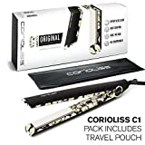 Corioliss C1 Professional Titanium Hair Styling Iron, Limited Edition Black Daisy, 2 Year Warranty, 1' Titanium Plates, Negative Ion, Anti-Static, Anti-Frizz, Heat Resistant Pouch included