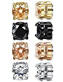 LOYALLOOK 4 Pairs Unisex Round CZ Inlaid Magnetic Earrings Non-Piercing Clip On Stud Earrings 4 Mixed Colors 6MM Round