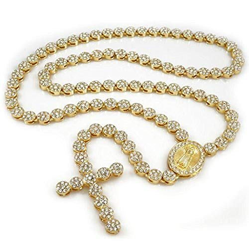 Big Dawgs Bling Hip Hop 14K Gold Plated CZ Cluster Simulated Diamond Iced Row Rosary Cross 36' Necklace