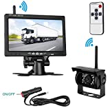 """LeeKooLuu Wireless Backup Camera and 7"""" Monitor Kit For RV/5th Wheel/Truck/Motorhome/Trailers/Campers Built-in Wireless Rear View Camera Monitor System Guide Line Optional IP68 Waterproof Night Vision"""