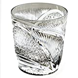 Edo Kiriko Crystal Double Old Fashioned Glass, 8.4oz Cut Glass Hisho Skyward - Black [Japanese Crafts Sakura]