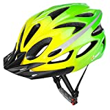 JBM Adult Cycling Bike Helmet Specialized for Mens Womens Safety Protection Red/Blue/Yellow (Gradient Green, Adult)