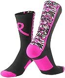 TCK Sports Breast Cancer Awareness Pink Ribbon Digital Camo Crew Socks, Black/Hot Pink, Small