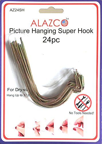 24pc Set ALAZCO Super Hooks - Hang Pictures Without Any Tool, Hammer, Nails or Drilling! Excellent Quality!