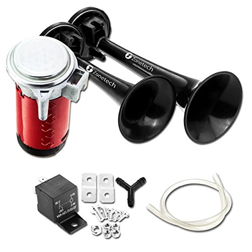 12V Dual Trumpet Air Horn -Zone Tech Premium Quality Classic Black Super Loud Powerful Train Sound Shiny Dual Car Van Truck Boat Air Horn