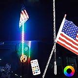 Maiker 5FT LED Whip Lights 360° Twisted Antenna Dream Wrapped Dancing Whips For Polaris RZR ATV Antenna Whip UTV Quad Sand Dune Buggy Flag Poles For Trucks w/Remote Control (One Whip)