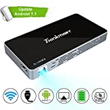 Mini Projector, Thinkmart Portable Pico Projector for iPhone and Android Phones, Support Android 7.1 1080P HDMI WiFi USB TF Card, A Mobile Multimedia 120' Home Cinema
