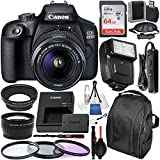 Canon EOS 4000D / Rebel T100 DSLR Camera with 18-55mm III Lens and Essential Accessory Bundle – Includes SanDisk Ultra 64GB SDXC Memory Card & Digital Slave Flash & 3PC Multi-Coated Filter Set & MORE