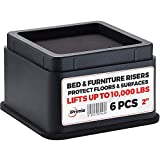 iPrimio Bed and Furniture Risers - 6 Pack Square Elevator up to 2' Per Riser and Lifts up to 10,000 LBs - Protect Floors and Surfaces - Durable ABS Plastic and Anti Slip Foam Grip - Stackable - Black